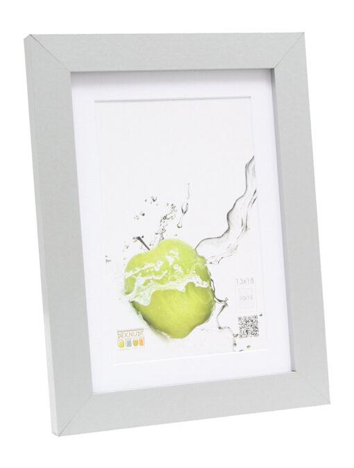 Fotolijst hout in zilver met passe-partout