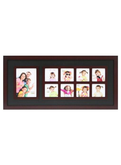 Multifotolijst in bruin met zwarte inleg voor 9 foto's