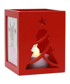 Theelichthouder kerstboom in rood voor 2 foto's