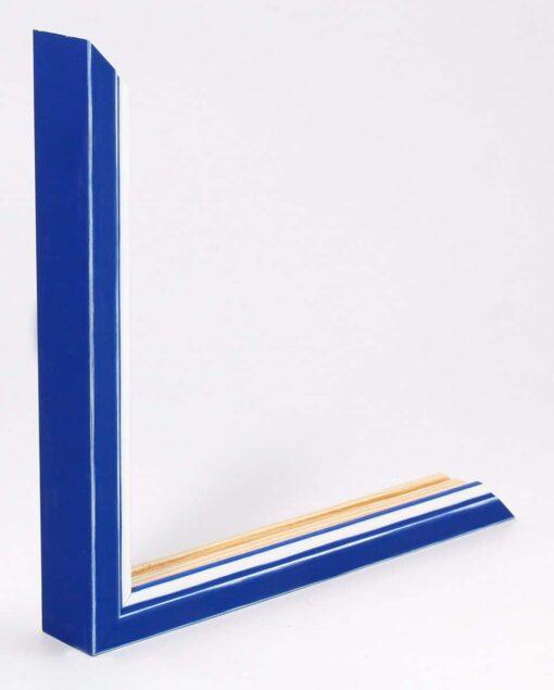 Wissellijst hout F302 3D Blauw met witte space