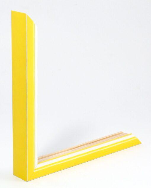 Wissellijst hout F302 3D geel met witte space