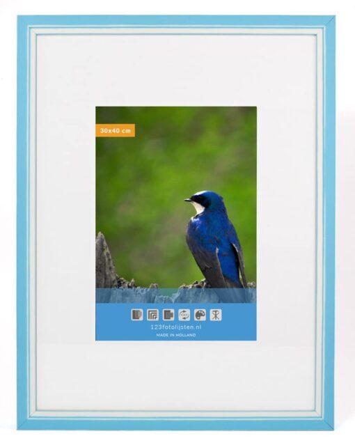 Wissellijst hout F302 3D Lichtblauw met witte space