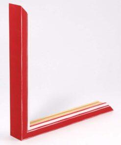 Wissellijst hout F302 3D Rood met witte space