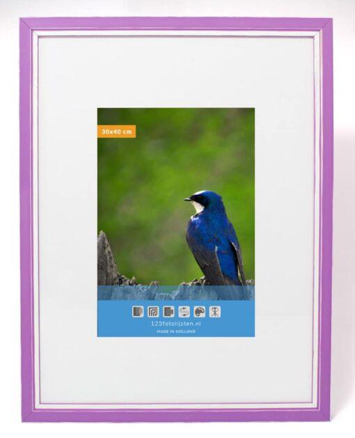 Wissellijst hout F302 3D violet met witte space