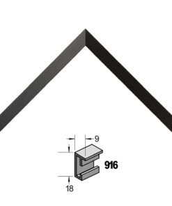 Barth wissellijst aluminium 916GZW Geschuurd zwart