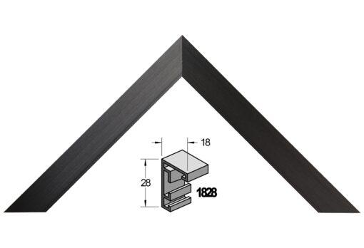 Barth wissellijst aluminium 1828GZW Geschuurd zwart