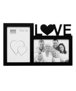 Multifotolijst 2x10x15 zwart voor 2 foto's - LOVE