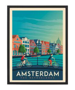 Ingelijste poster: Vintage Amsterdam