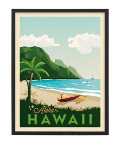 Ingelijste poster: Vintage Hawaï