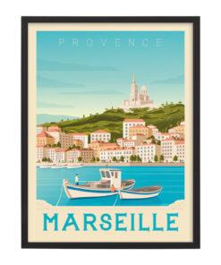 Ingelijste poster: Vintage Marseille