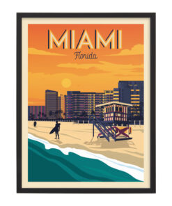 Ingelijste poster: Vintage Miami